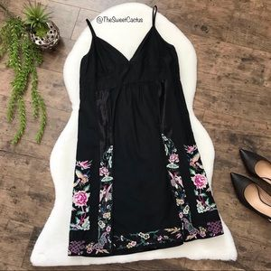 Lucky Brand Black Floral Embroidered Boho Dress